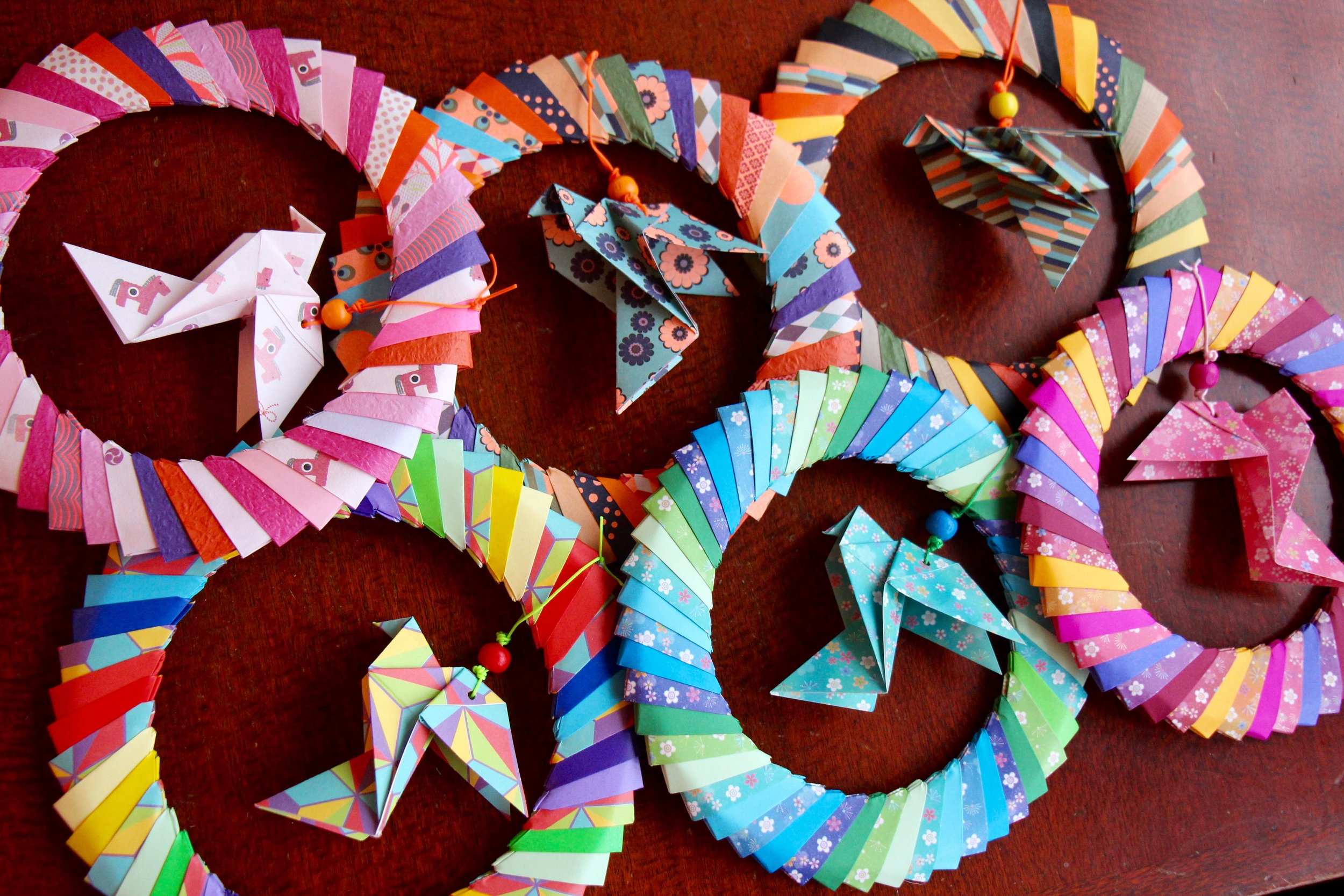vibrant Christmas dove origami decoration wreaths