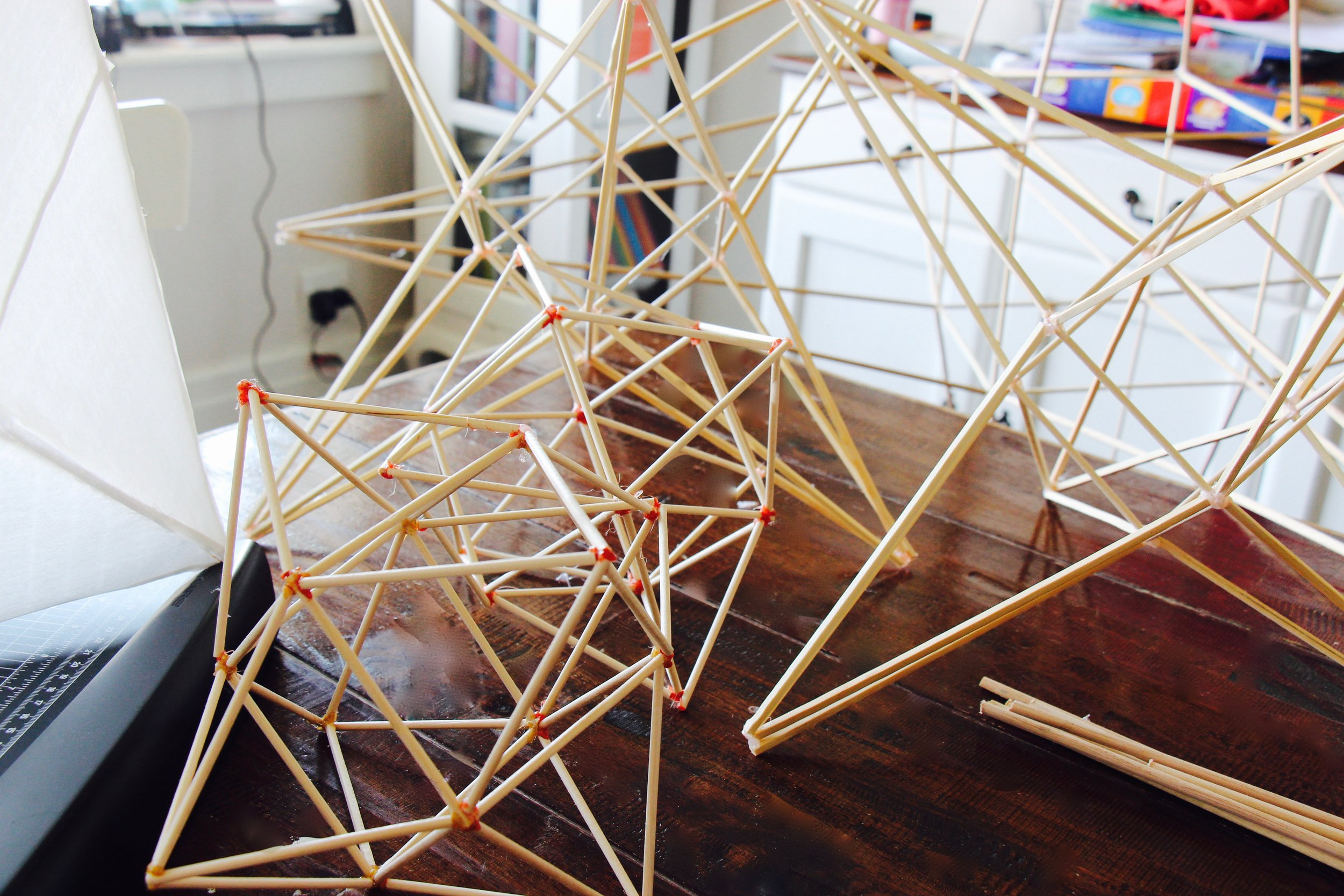 geometric magic in the beautiful beginnings ... the bamboo star structures pre-addition of the sumi-e paper.