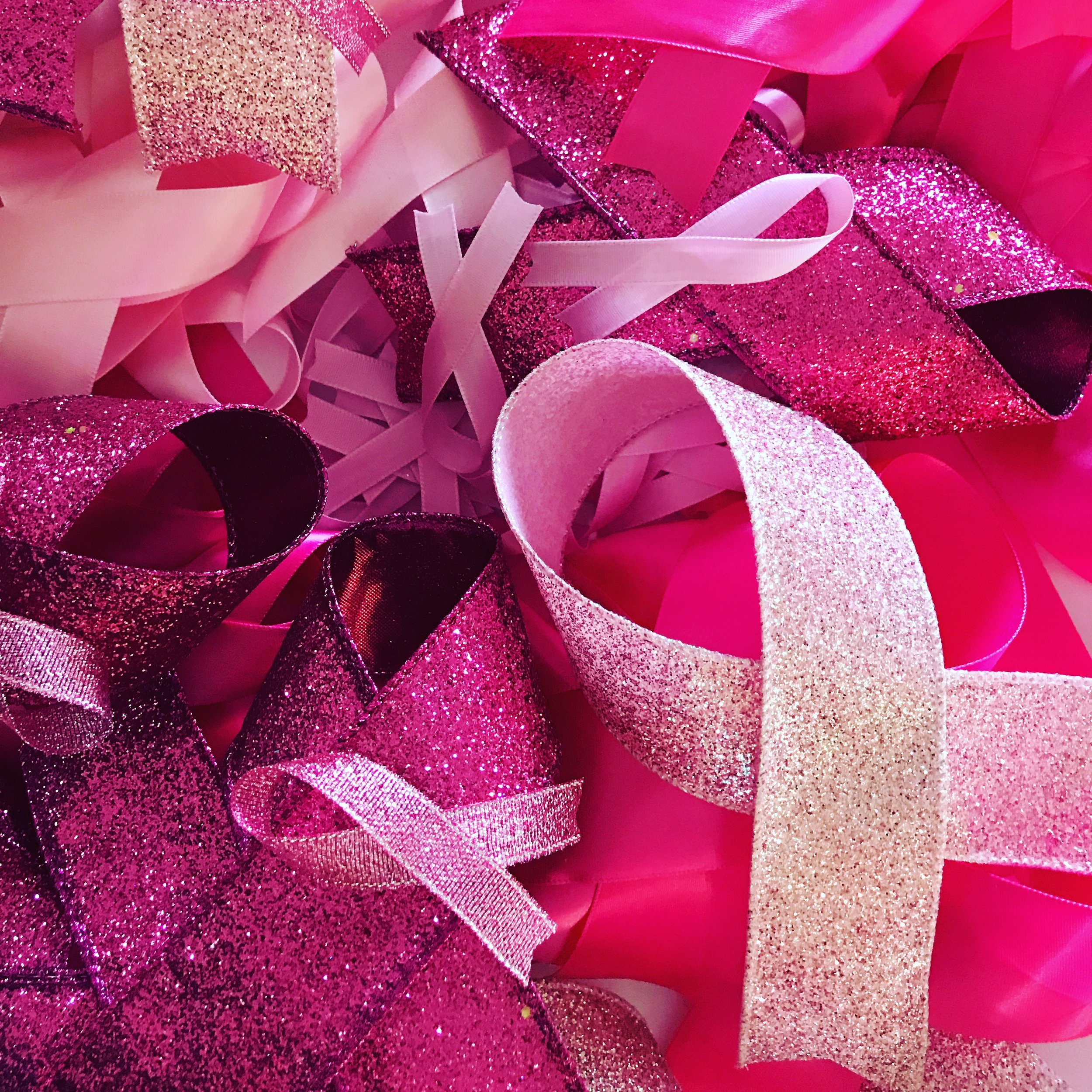 I sourced a beautiful selection of different pink coloured and textured ribbons to create the larger 'ribbon'.