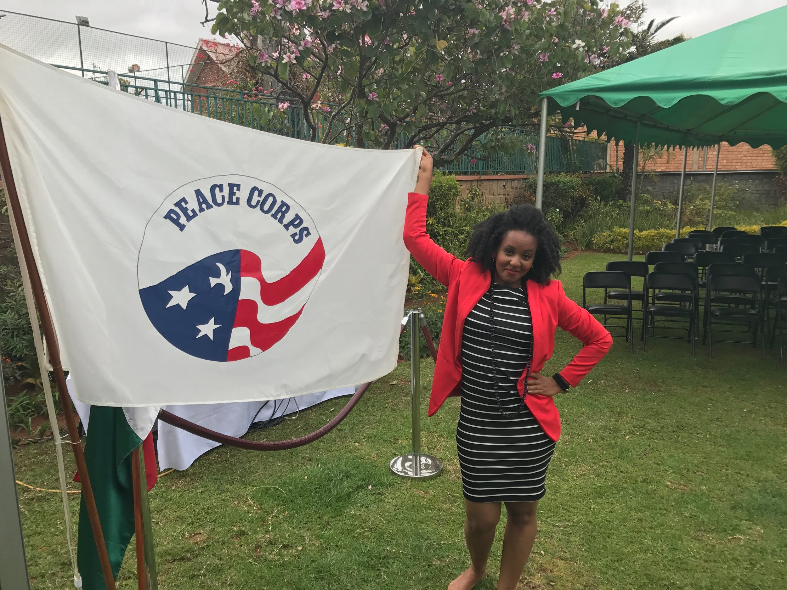 Jenni from the block & the Peace Corps flag.