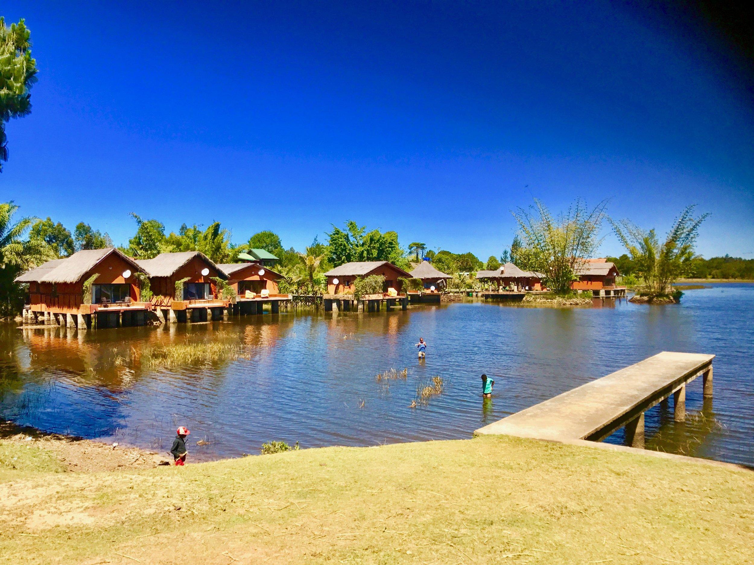 Lac Hotel: Bungalows on stilts located on Lake Sahamvavy. Photo by Jennifer Manzanillo