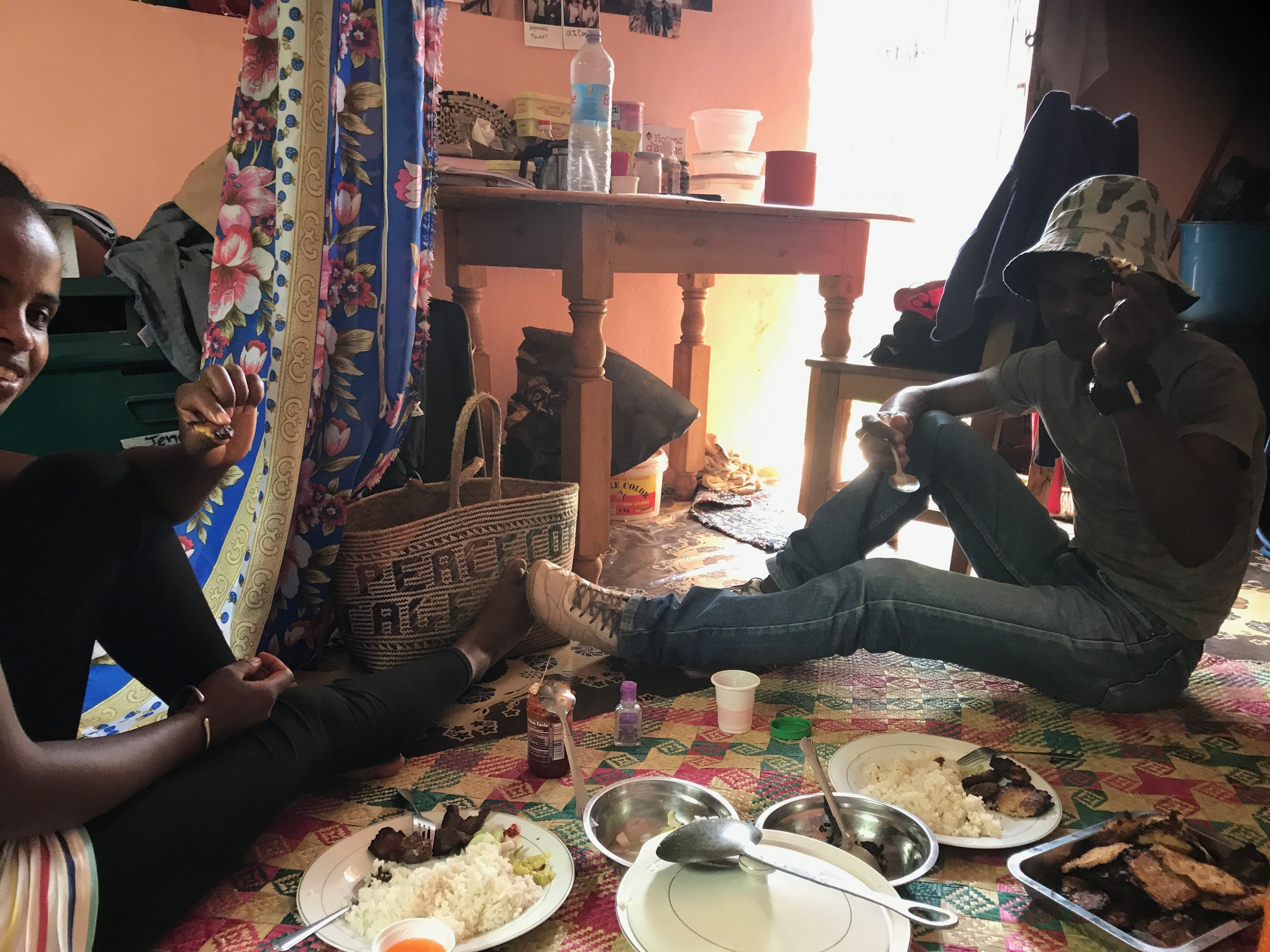 Tina and Tahina sharing a meal with me at my house...