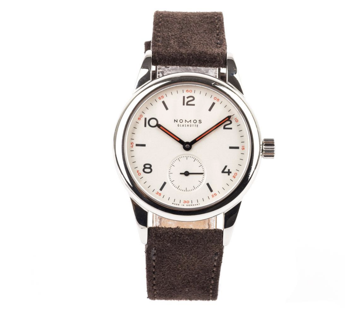 NOMOS GLASHUTTE CLUB TIMEPIECE - STORE 5aCrafted in stainless steel, this pre-owned Nomas timepiece is designed with a silver plated dial in a 36mm case.The brown, alleriegoshutzt strap is perfect for those that prefer the lightweight comfortable fit.image: store5a.com