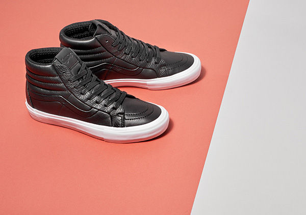 THE VAULT by VANSSTITCH + TURN - SOLE CLASSICSAvailable in the Old Skool and Sk8-Hi styles, this special collection by Vans is crafted in vibrant Italian leathers. The Stitch and Turn technique utilizes three construction peices versus one piece, creating a seamless quarter panel for a sophisticated feel.image: vans.com