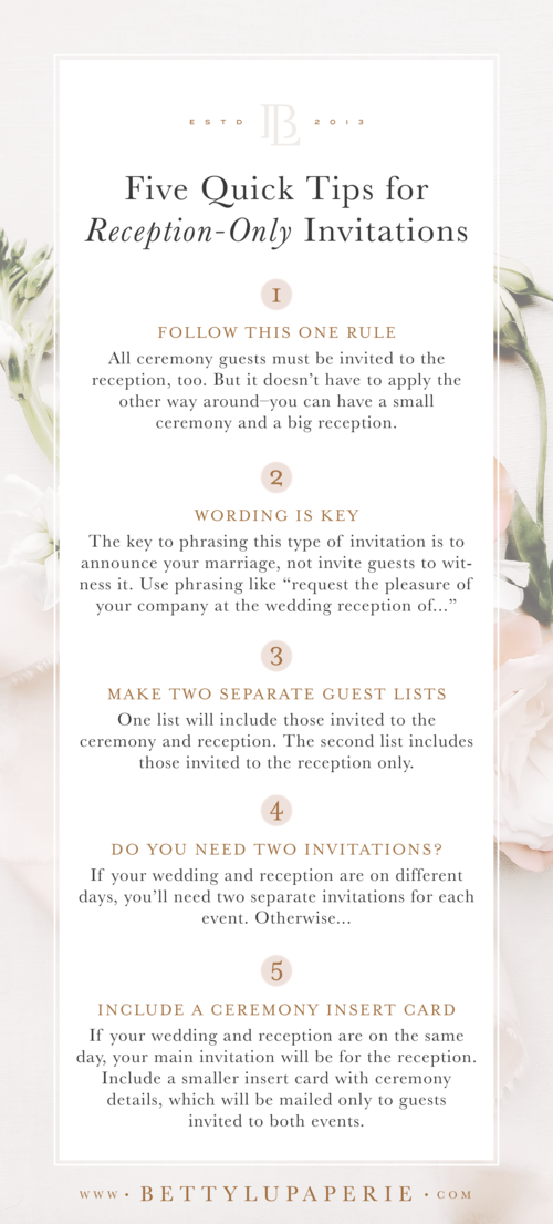 Wedding Invitation Wording for Reception Only — Betty Lu Paperie