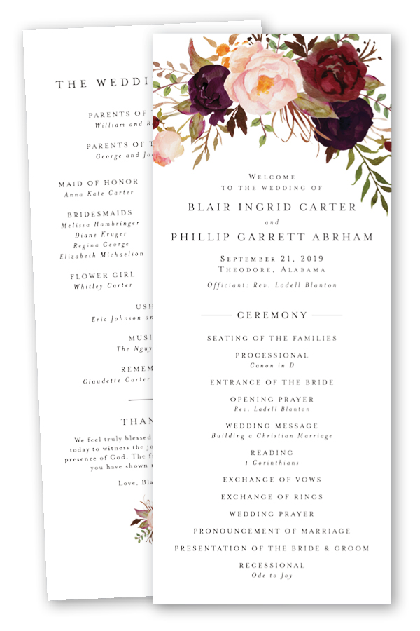 Burgundy Floral Wedding Programs.jpg