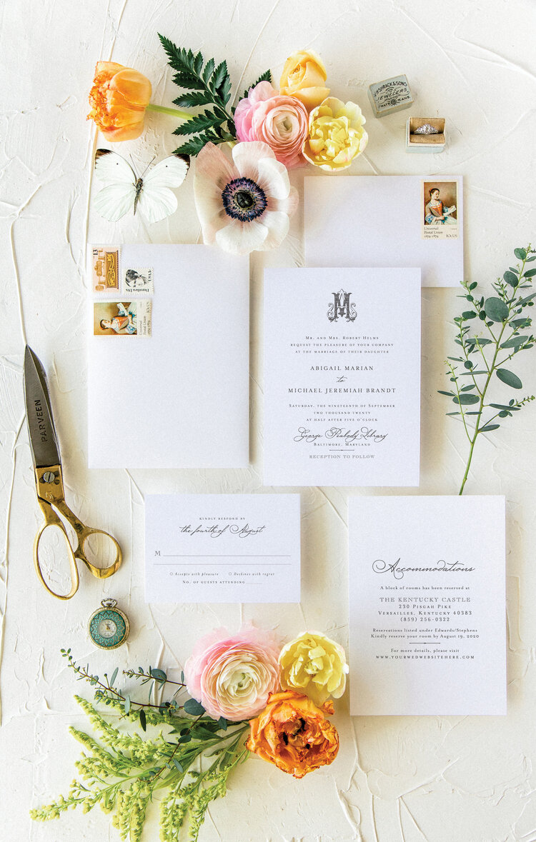 address wedding invitations - This classic wedding invitation suite has all the makings of a cherished heirloom, with just a hint of vintage appeal.