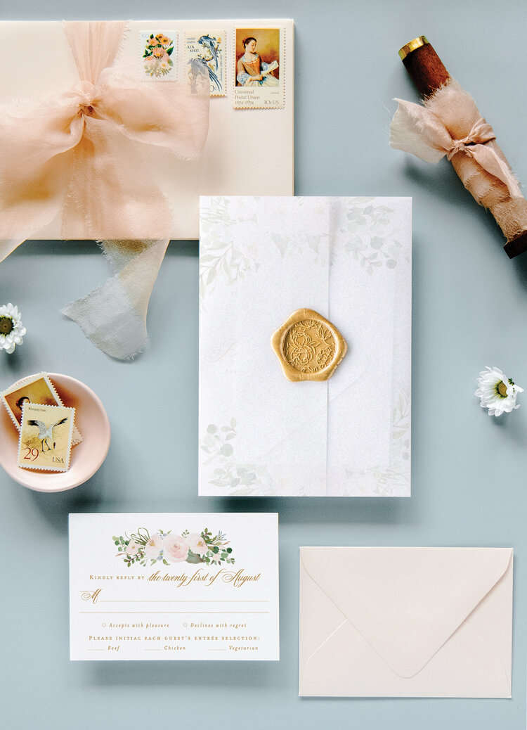 address wedding invitations - The Haley Suite evokes a romantic yet elegant wedding! With a dreamy watercolor design and gold calligraphy, this floral wedding invitation offers a romantic start to your big day.