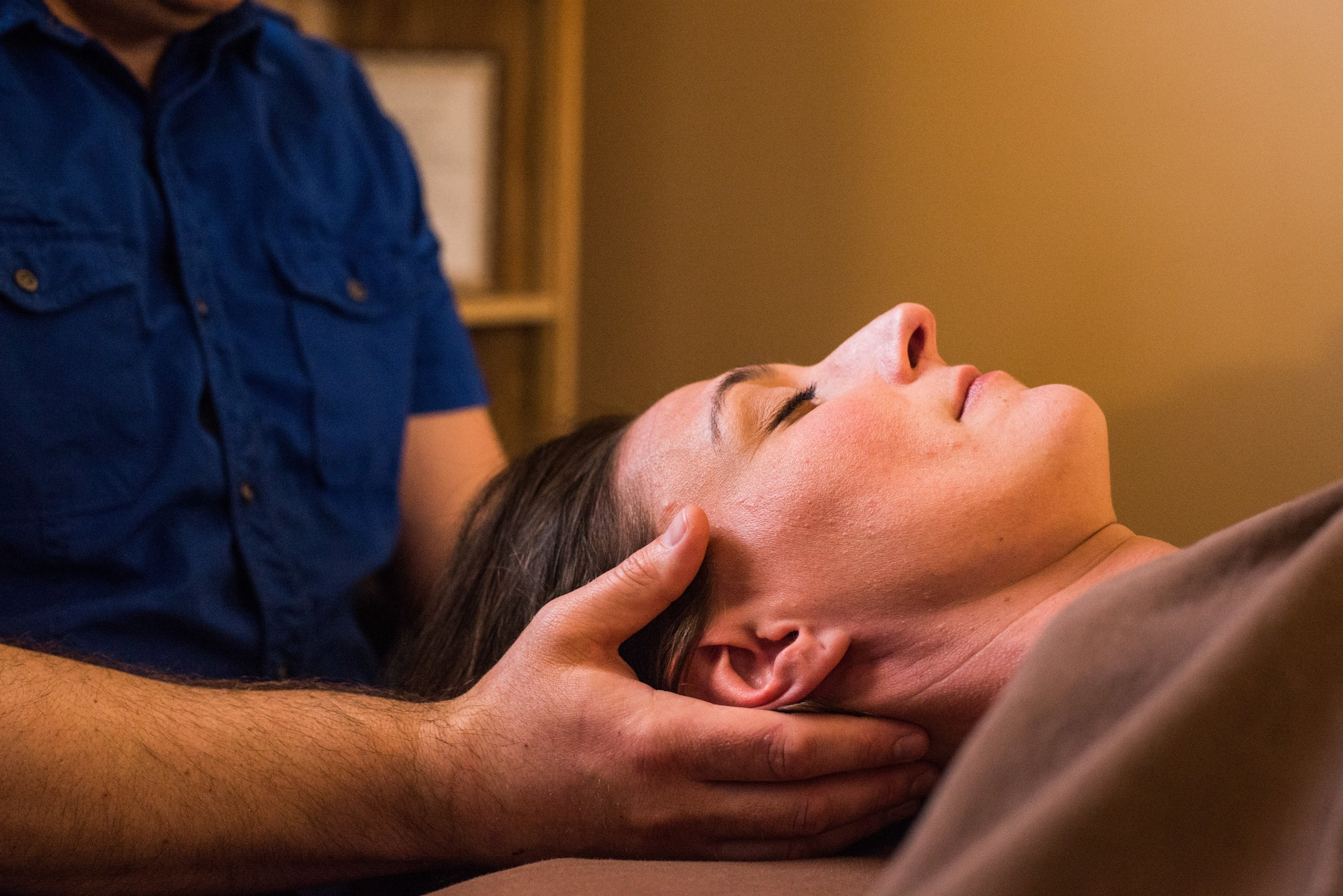 """Craniosacral Therapy - ReVibe's premiere modality. Based upon Osteopathic techniques, this very subtle bodywork enhances the flow of cerebrospinal fluid, which nourishes the central part of your nervous system, the brain and spinal cord. Your nervous system controls the functions of all other systems of the body: muscles, joints, etc., so if it's """"happy,"""" other systems are happy. If you are in need of the deepest state of relaxation, this is your modality. 60 minutes is the minimum duration for BCST."""