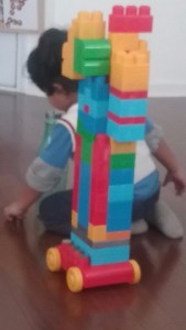 """The parenting books didn't address this: my three-year-old built this tower, put quarters on it, and dubbed it a """"bwokchain."""""""