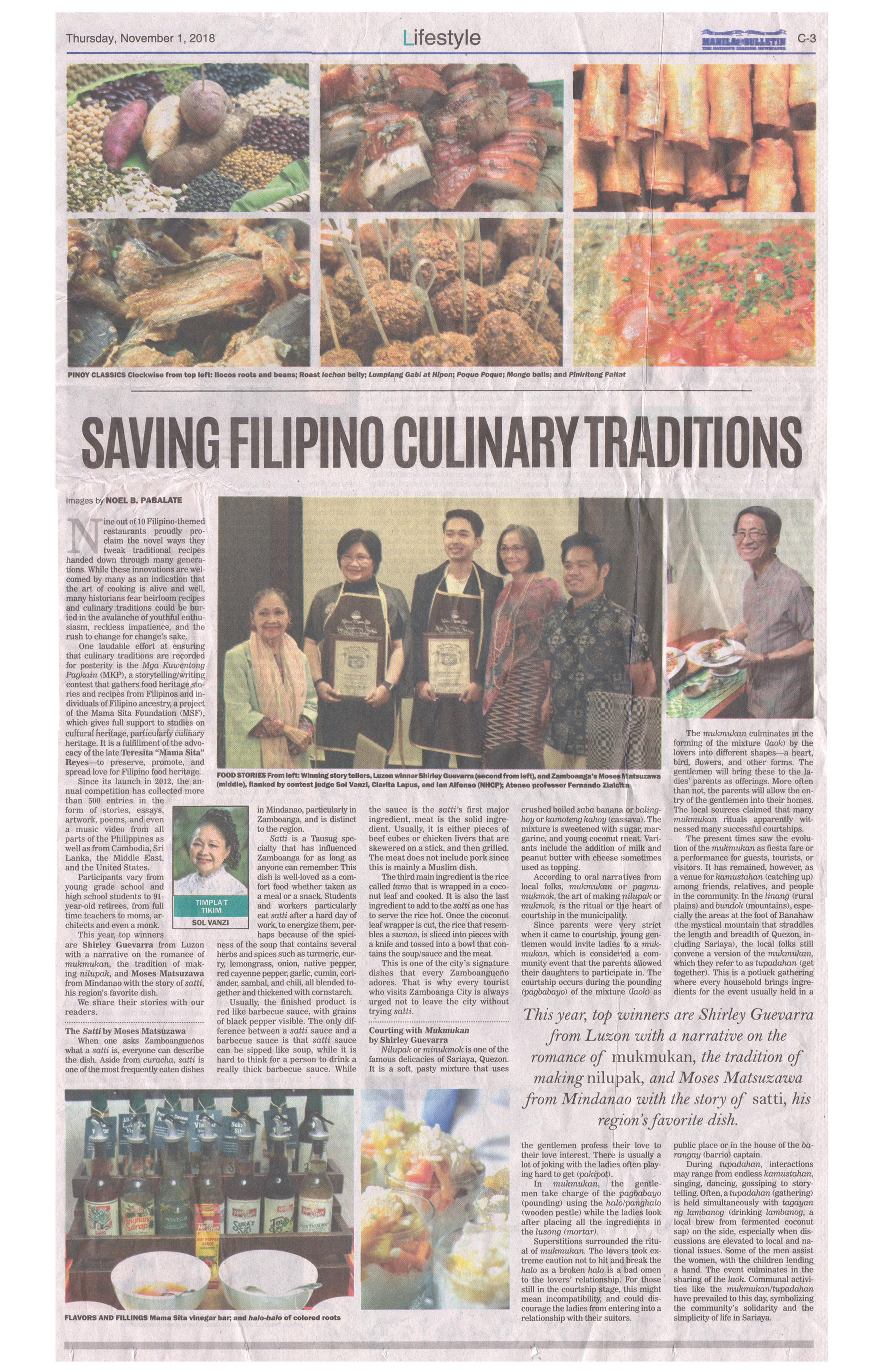 2018-11-01 - Manila Bulletin - Saving Filipino Culinary Traditions.jpg