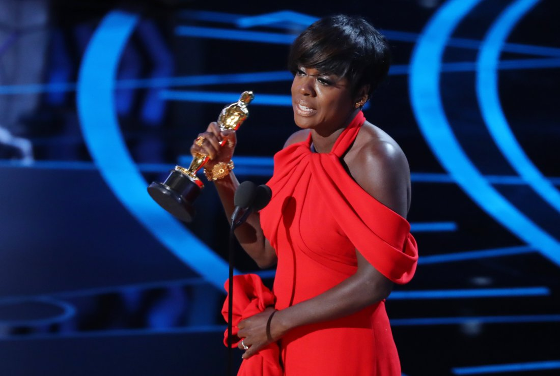 An emotional Viola Davis giving a memorable acceptance speech for Best Actress in a Supporting Role.