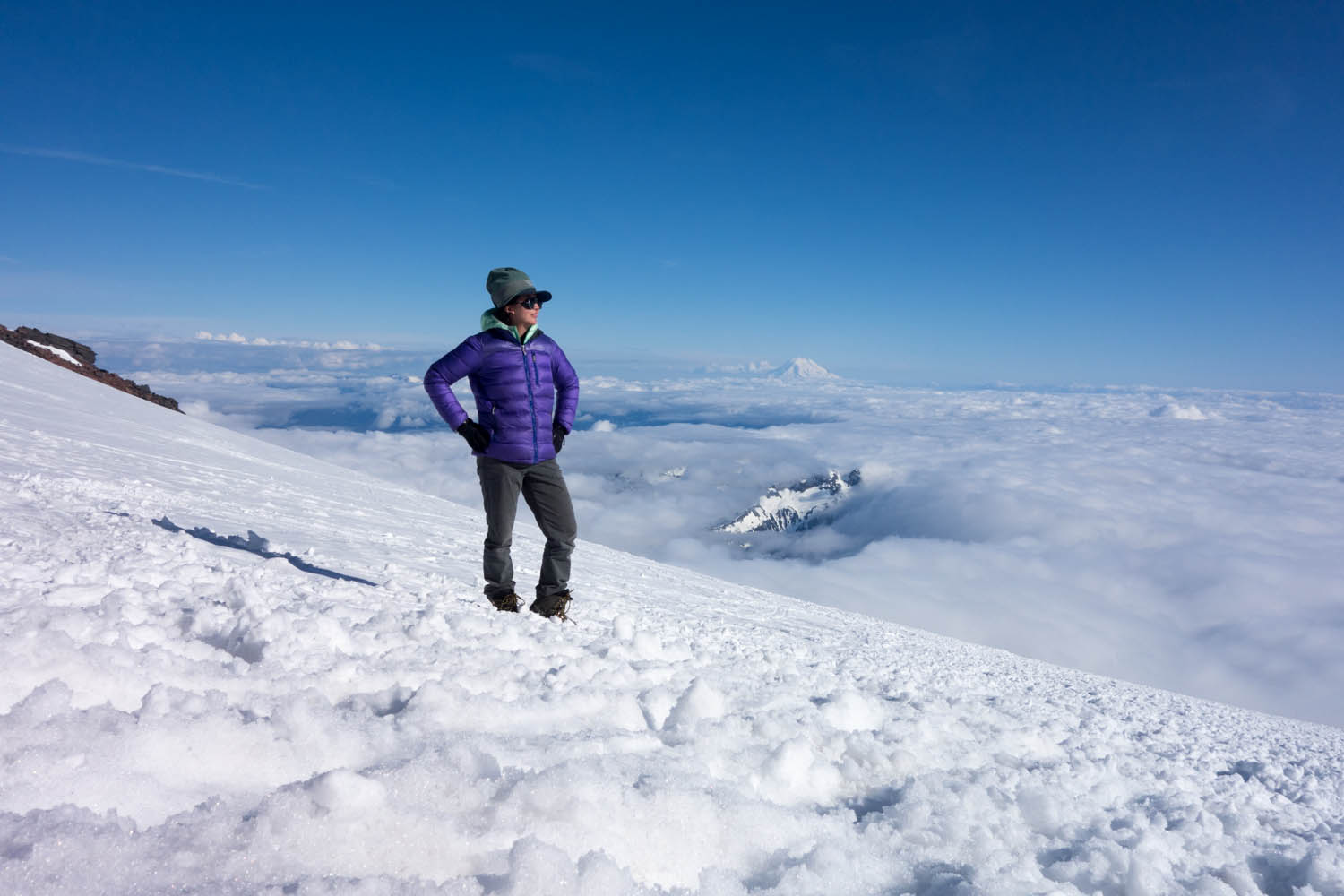 Feeling strong at Camp Muir. Thats the Cowlitz Glacier out back