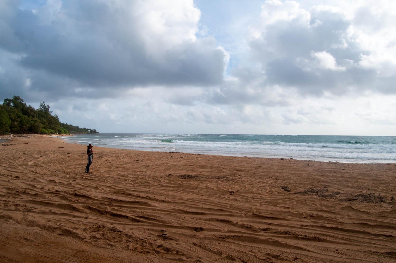 Morning walk on the beach at Kumu Camp