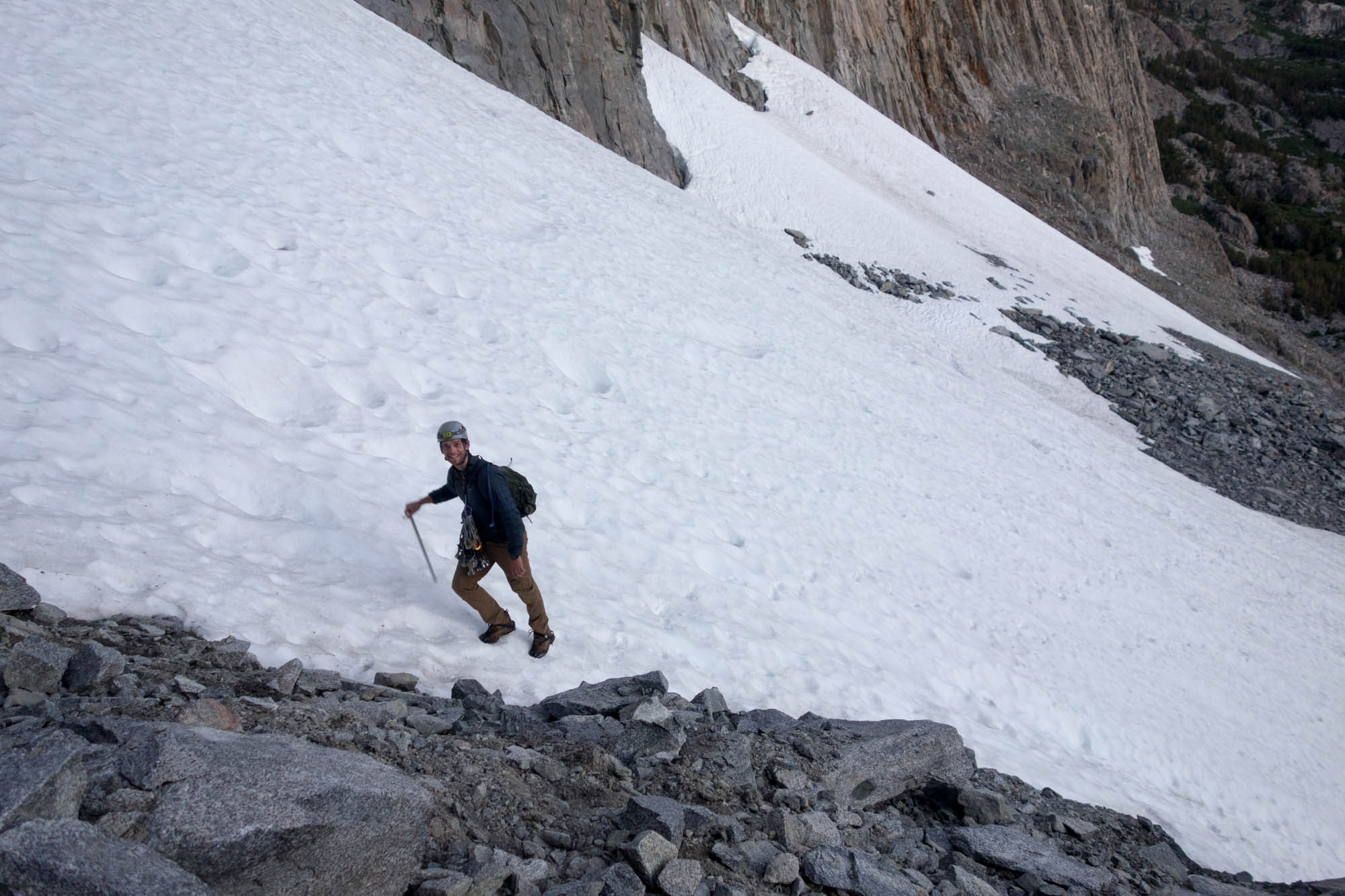 Robin on the Approach snowfield.