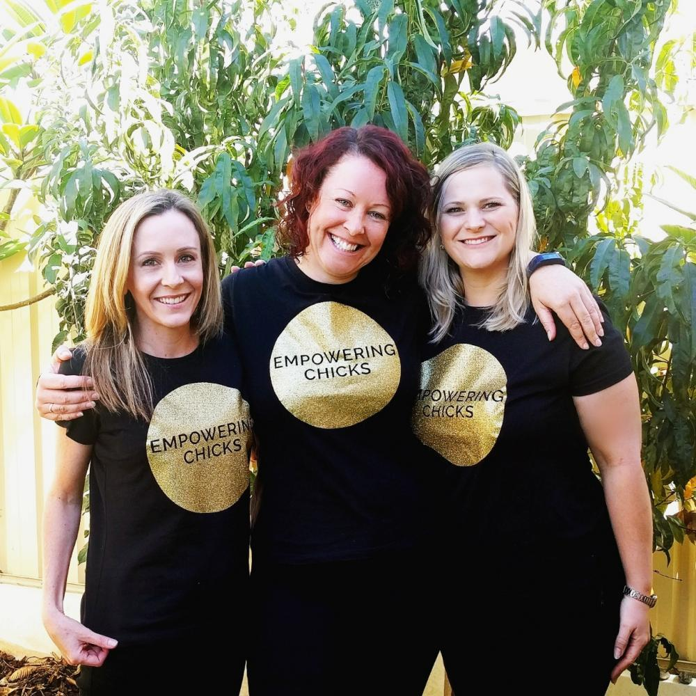 Founders Priscilla Hogan, Louise Garland and Katie Lefroy at Empowering Chicks HQ. Photo credit: Kimberley McGivern.