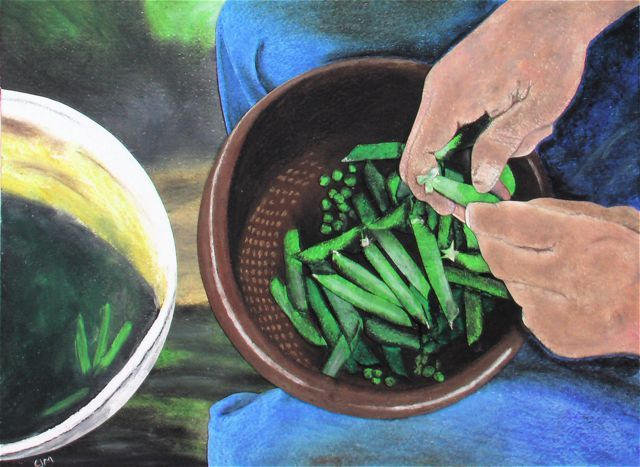 Peas, 2005, Oil Pastel on Collaged Paper, 11 x 14