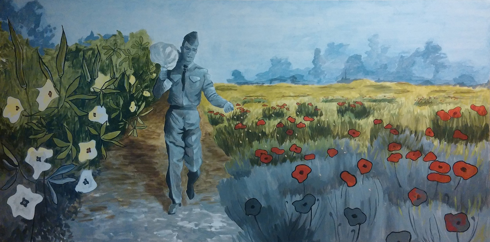 - Okra and The Poppies, 48 x 96, Acrylic on MasoniteThis painting was originally done as a mock for a proposal request out of Georgetown, TX. It explains the story of how Henry