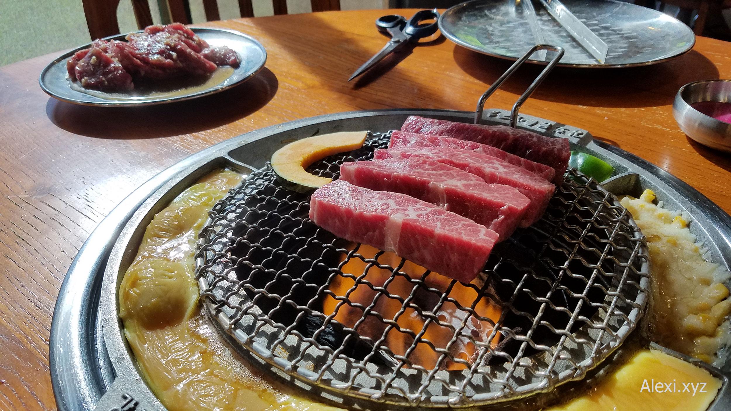 My favorite prime boneless short rib on the grill at Kang Ho-dong Baekjeong