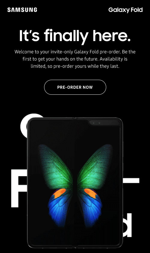 - Pre-order for the Samsung Galaxy Fold is available