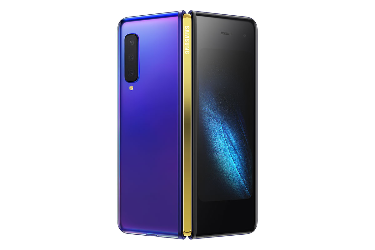 Samsung Galaxy Fold for AT&T with Astro Blue color and Gold hinge
