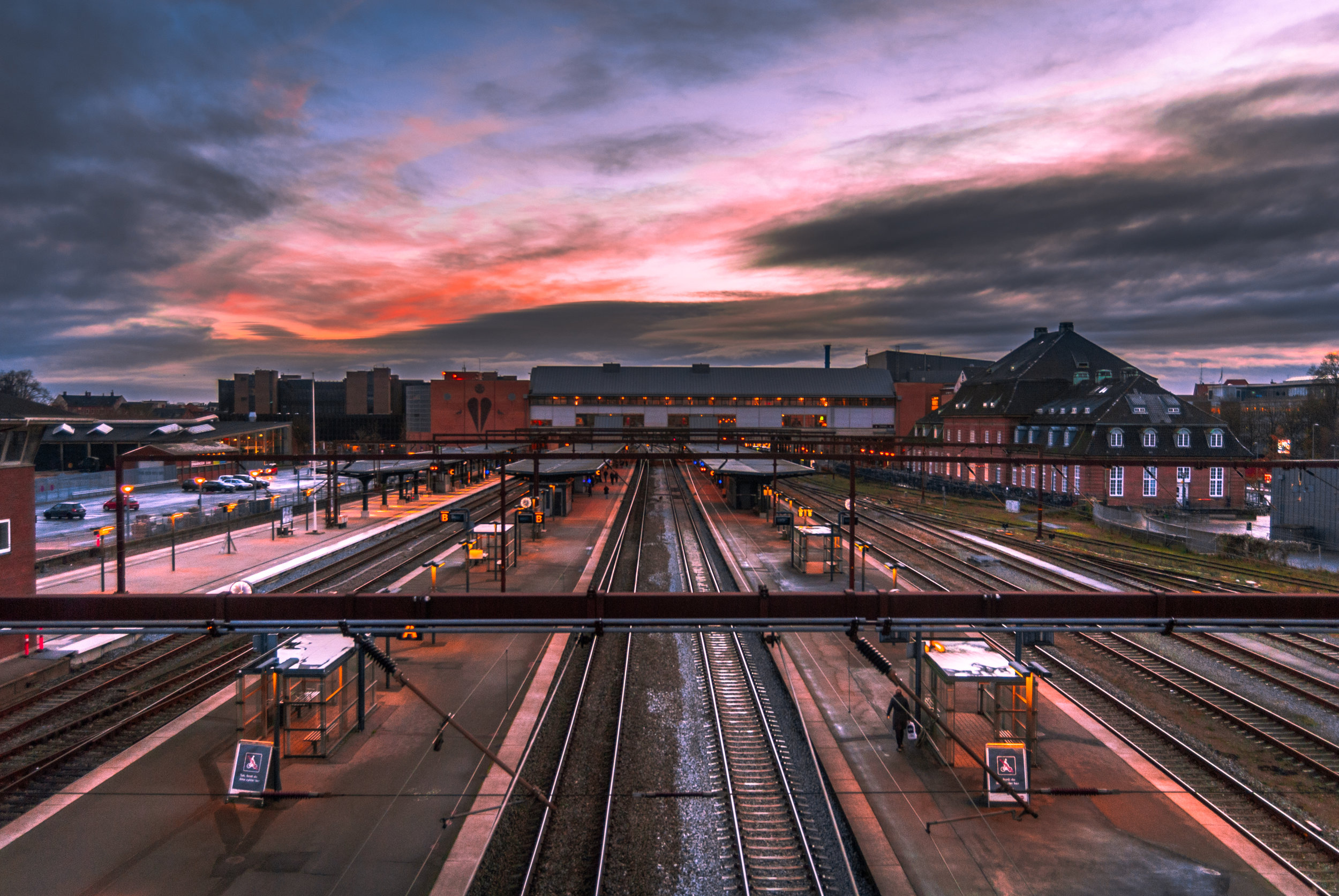 Sunset over the railway station. Nikon D200