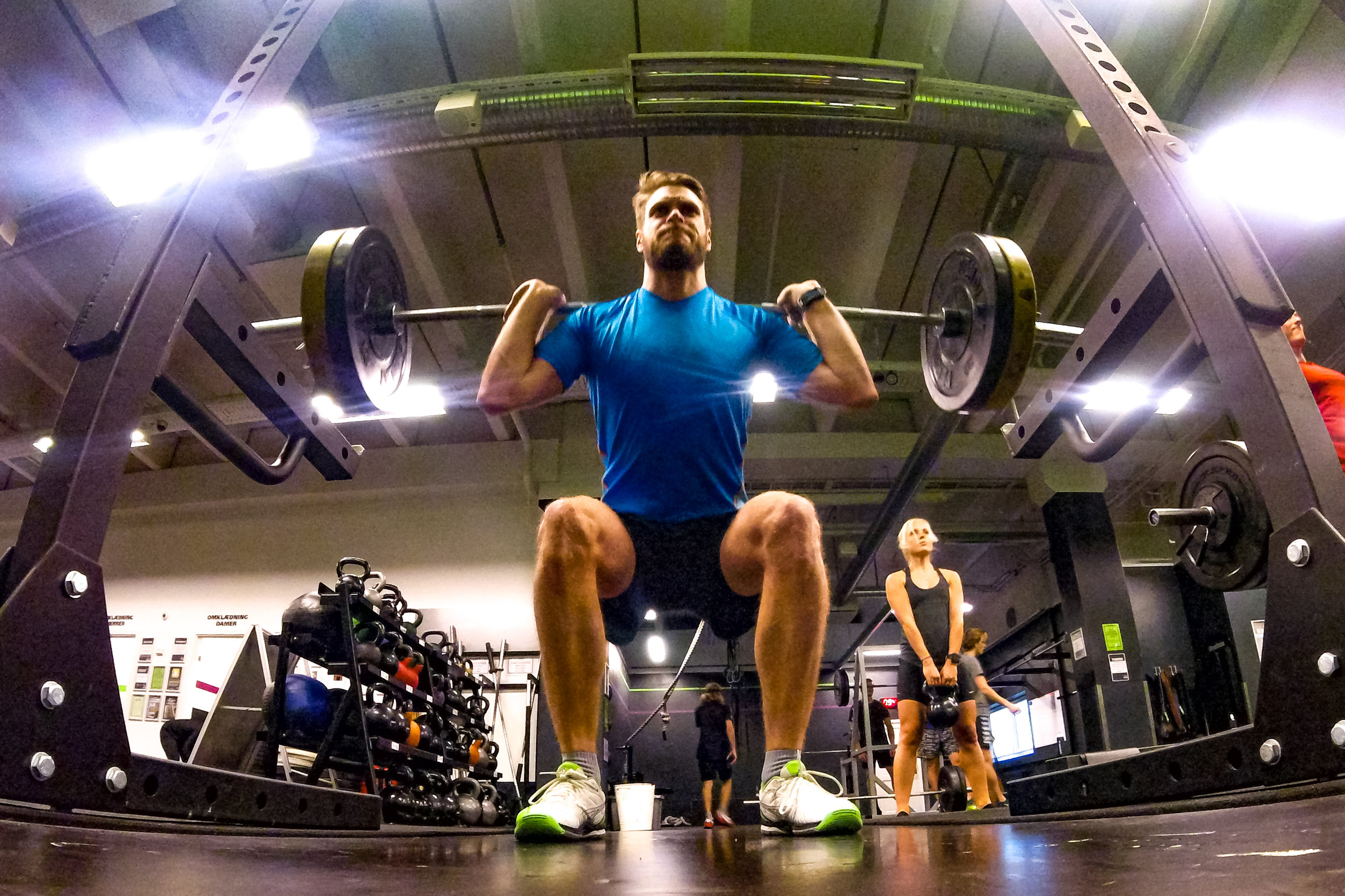 Eccentric movement is made when the muscles are turning my downwards movement into upward momentum when squatting.