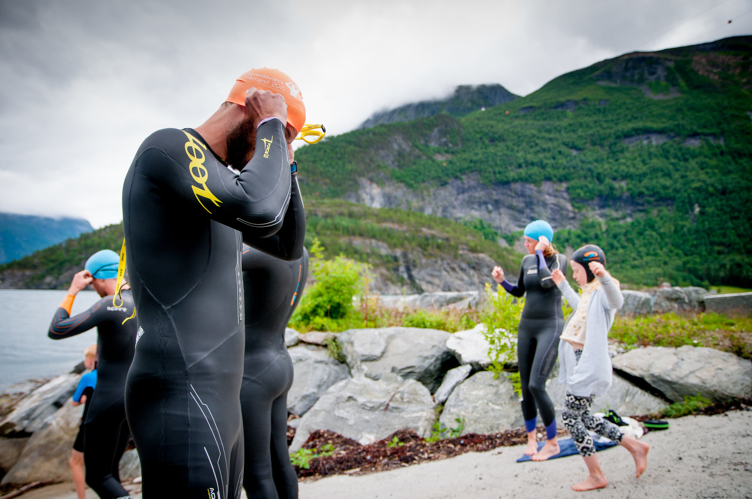 A picture of me getting ready to swim last year in the cold fjords of Norway. Nikon D200.