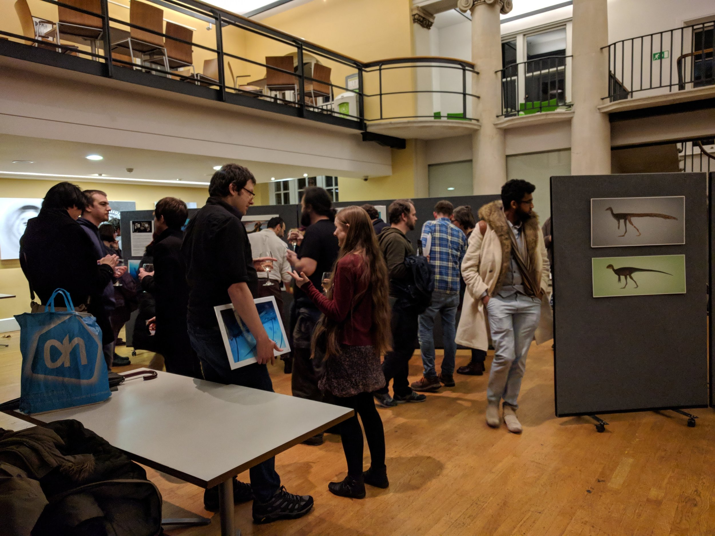 """The Art of Extinct Animals"" Pop-up Palaeoart Exhibition at King's College London, December 2017.  Photography by Katya Morgunova."