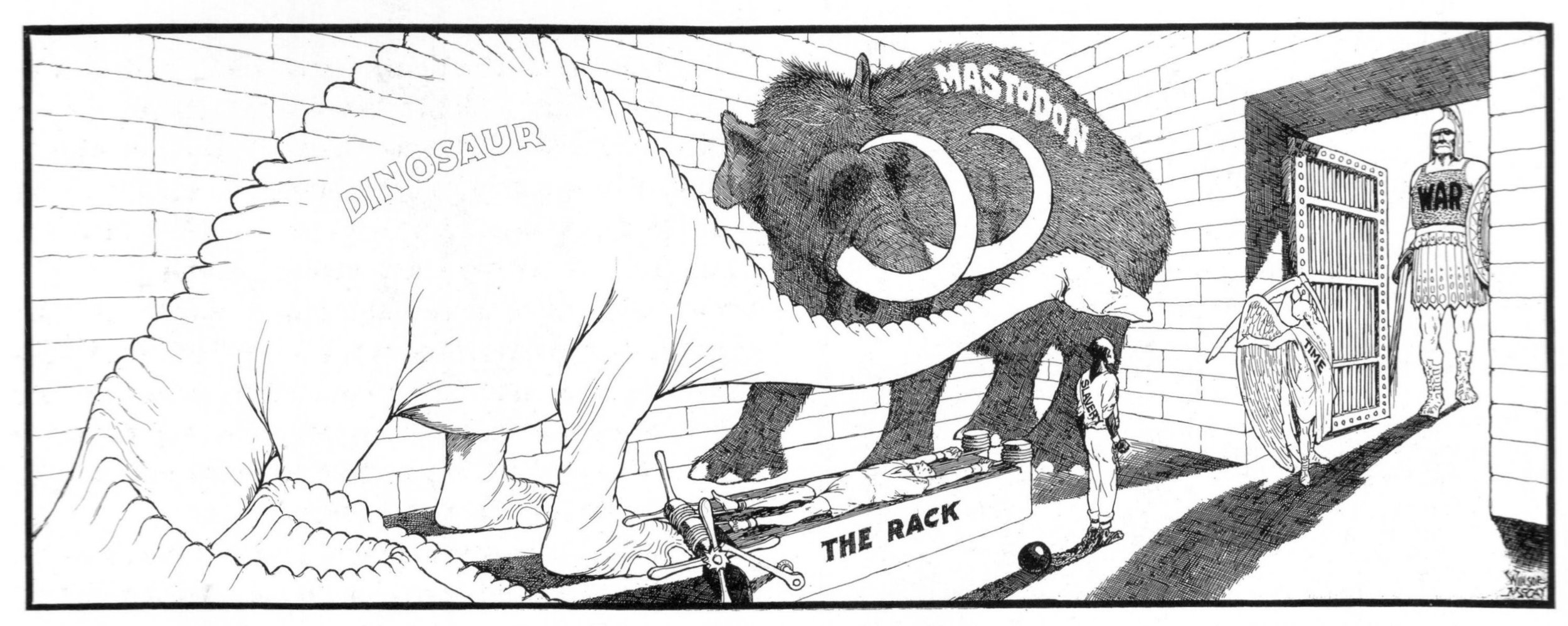Figure 1.  Here,   famed cartoonist Winsor McCay depicts the 'Dinosaur' alongside other outdated animals, objects, and institutions supposedly swept away by the progress of 'Time', including 'The Rack' and 'Slavery'. Winsor McCay, 'Oblivion's Cave—Step Right In, Please', Sunday American, 19 March 1922.