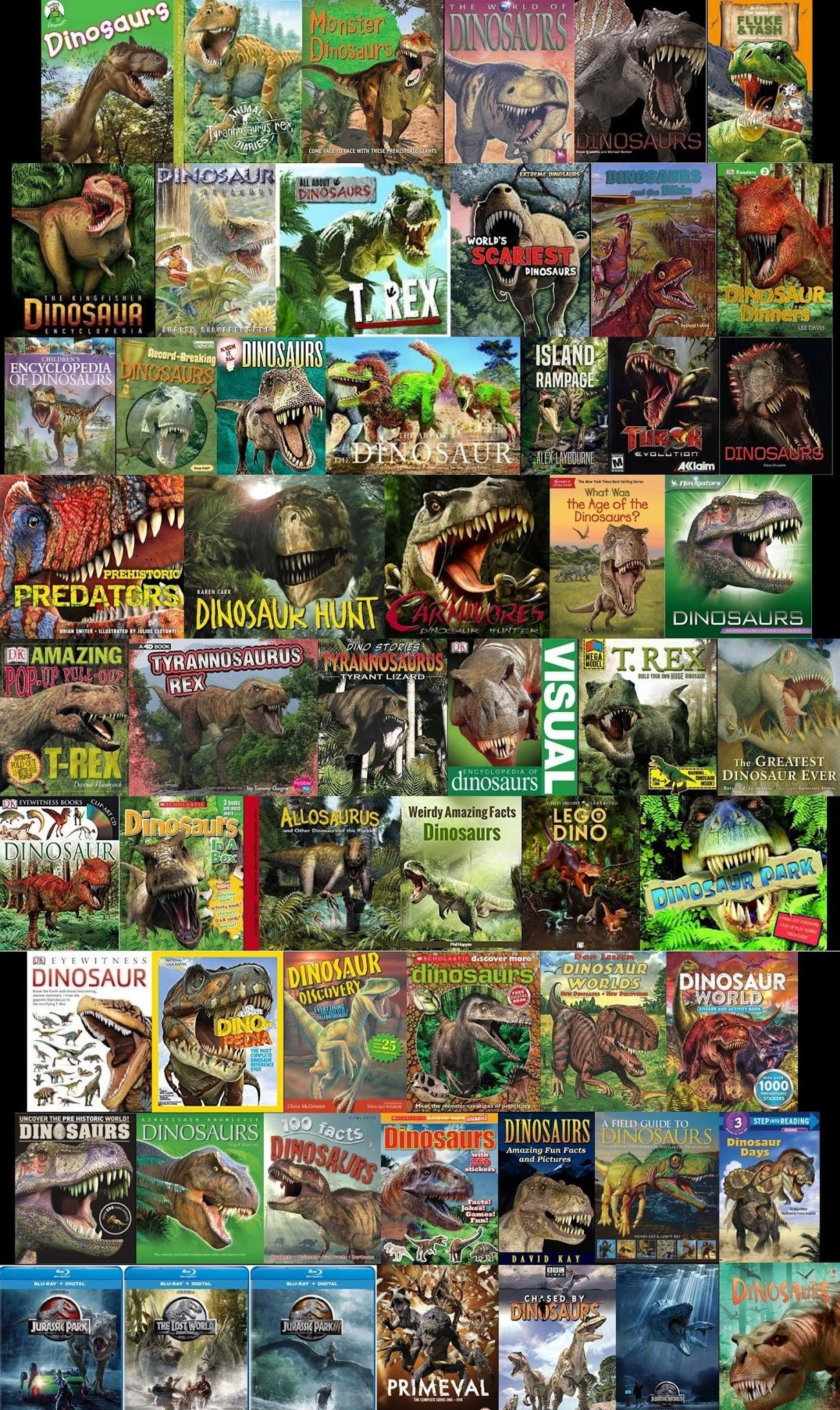 The results of Google image search for 'dinosaur book' or 'dinosaur DVD': dozens and dozens of prehistoric animals (mostly theropods) that want to eat our faces.