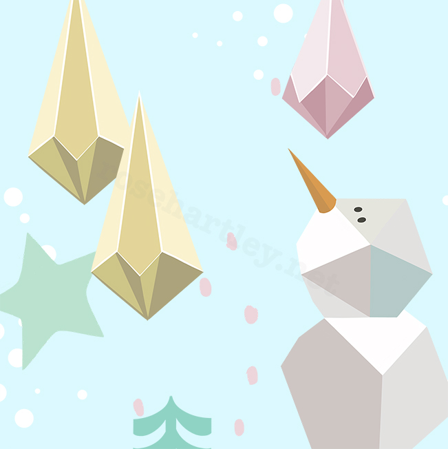 Inspired by the paper diamond shaped christmas tree decorations, which are incredibly on trend for 2017. I created this illustration in response to the paper creations. I loved the different tones on each angled corner.