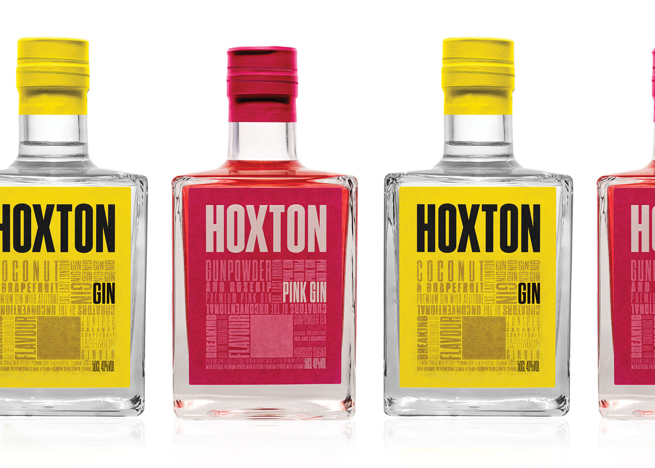 HOXTON SPIRITS - Inspired by Hoxton, East London, Hoxton Gin's bold and unwavering attitude reflects that of the creative centre of London. Breaking all the conventions of flavour: Hoxton Gin and Hoxton Pink Gin.