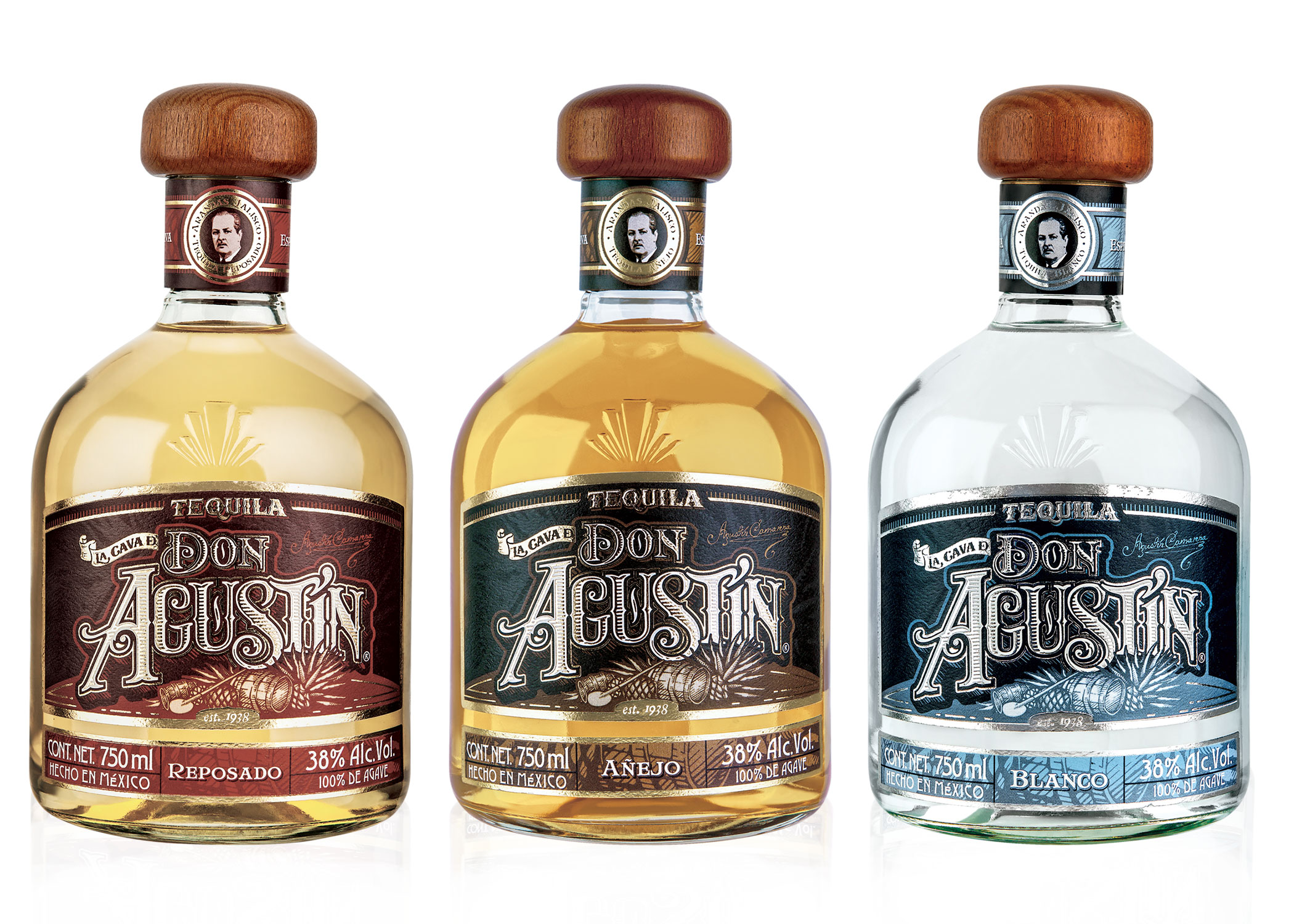DON AGUSTIN - Don Agustin tequila is named after the founder of the distillery, Don Agustin Camarena. Made from 100% Agave, the piñas are traditionally baked for 60 hours in brick ovens, rather than autoclave, and a similar level of attention to traditional methods is applied to every part of the process.