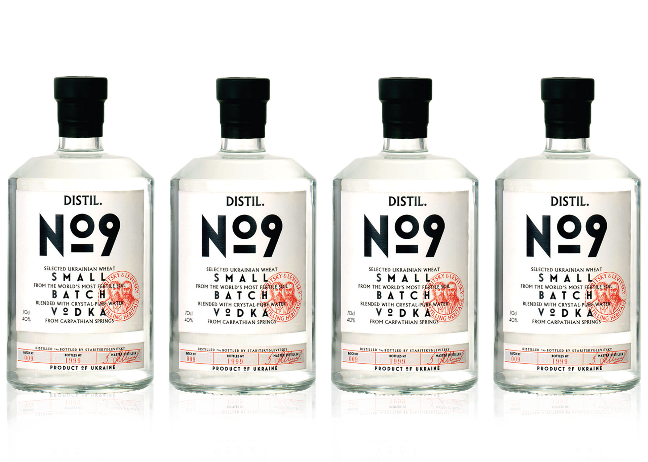 DISTIL. NO9 - Distil.No9 is the modern interpretation of a traditional Ukrainian recipe and is a young, fresh vodka for any occasion. After making a large number of batches, distillation No.9 produced an exceptional result. Distil. No9 is distilled five times and purified four times (twice through brick charcoal and twice through rhinestone). It is produced in single batch 9,999 bottles.