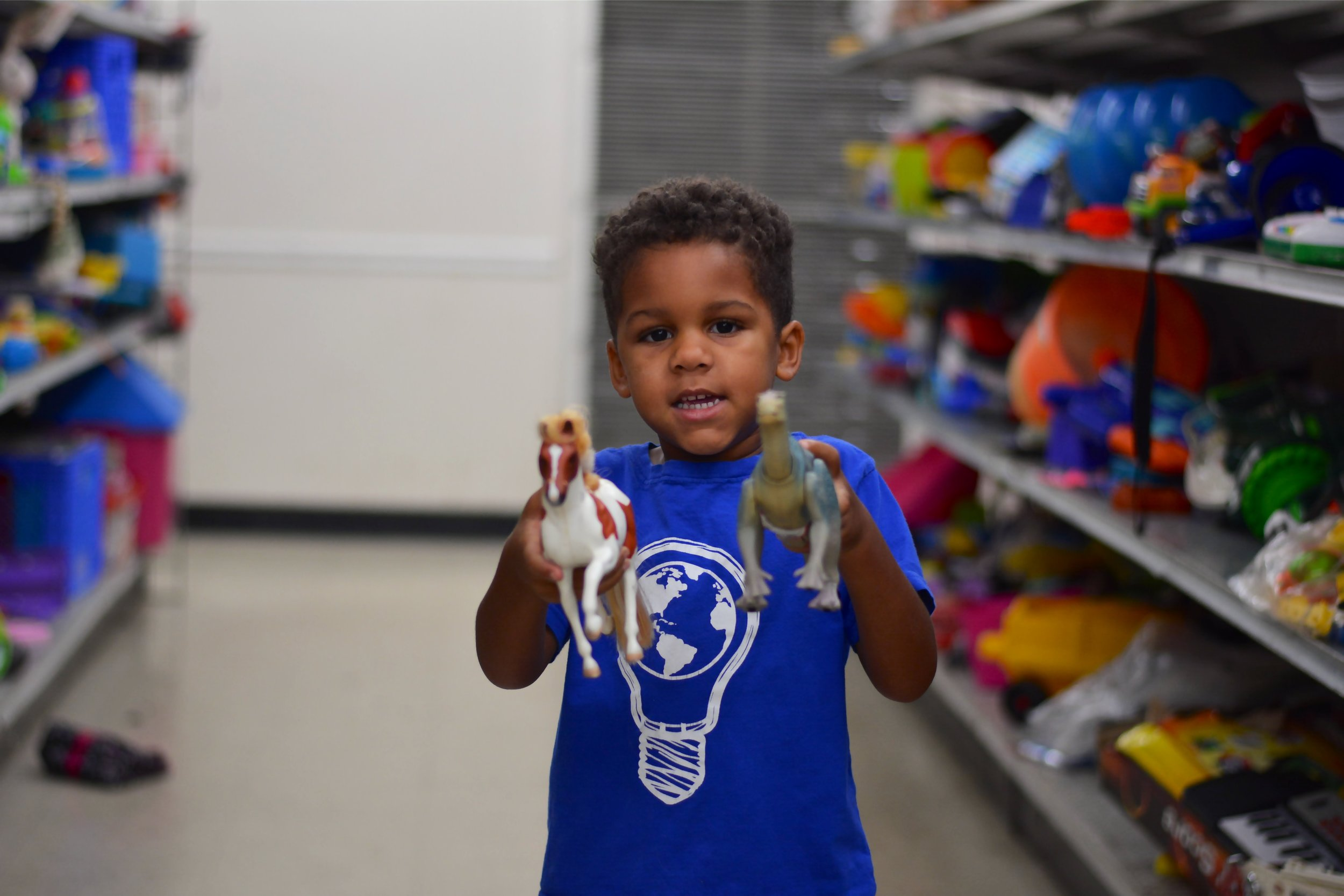 Here is Braxton with his new dinosaur friend!