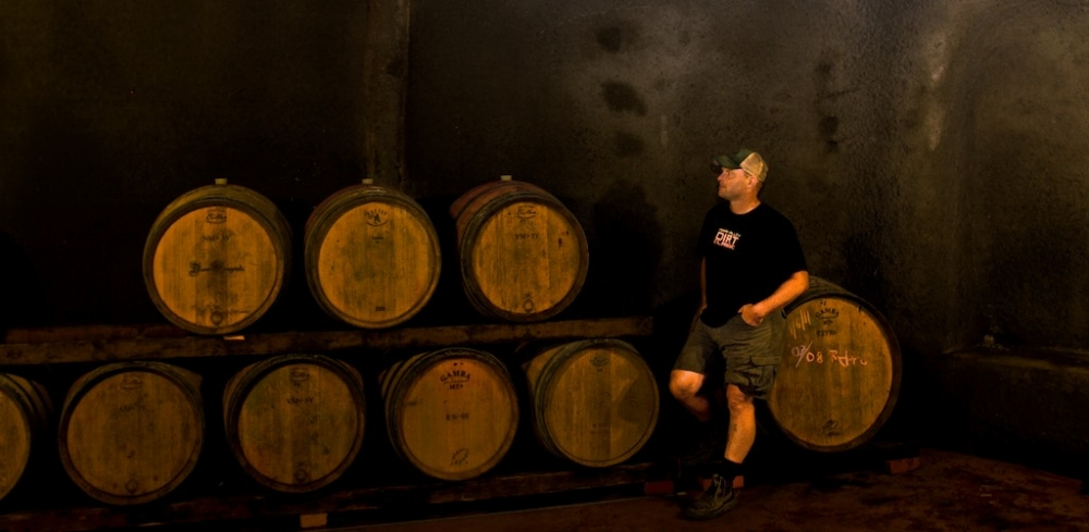 Mike working hard in the cellars. Photo credit - Rick Fessenden.