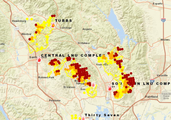Fire Map as of 10/11 at 13:00 PST