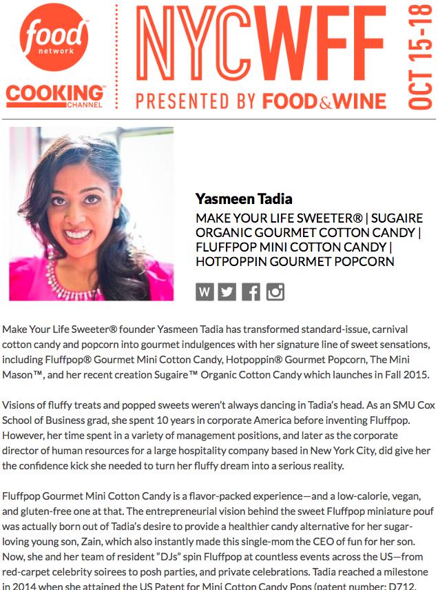 Food Network - New York Food & Wine Festival - Yasmeen Tadia | 2015 NYCWFF | OCT 15-18, 2015