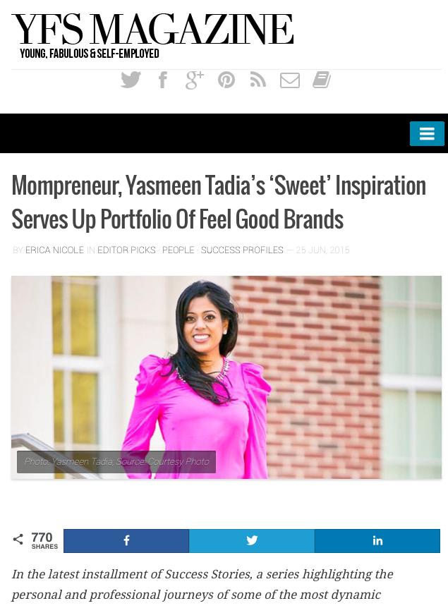 YFS Magazine | Mompreneur, Yasmeen Tadia's 'Sweet' Inspiration Serves Up Portfolio Of Feel Good Brands