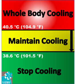 Recommended rectal temperature thresholds to start and stop Cold Water Immersion