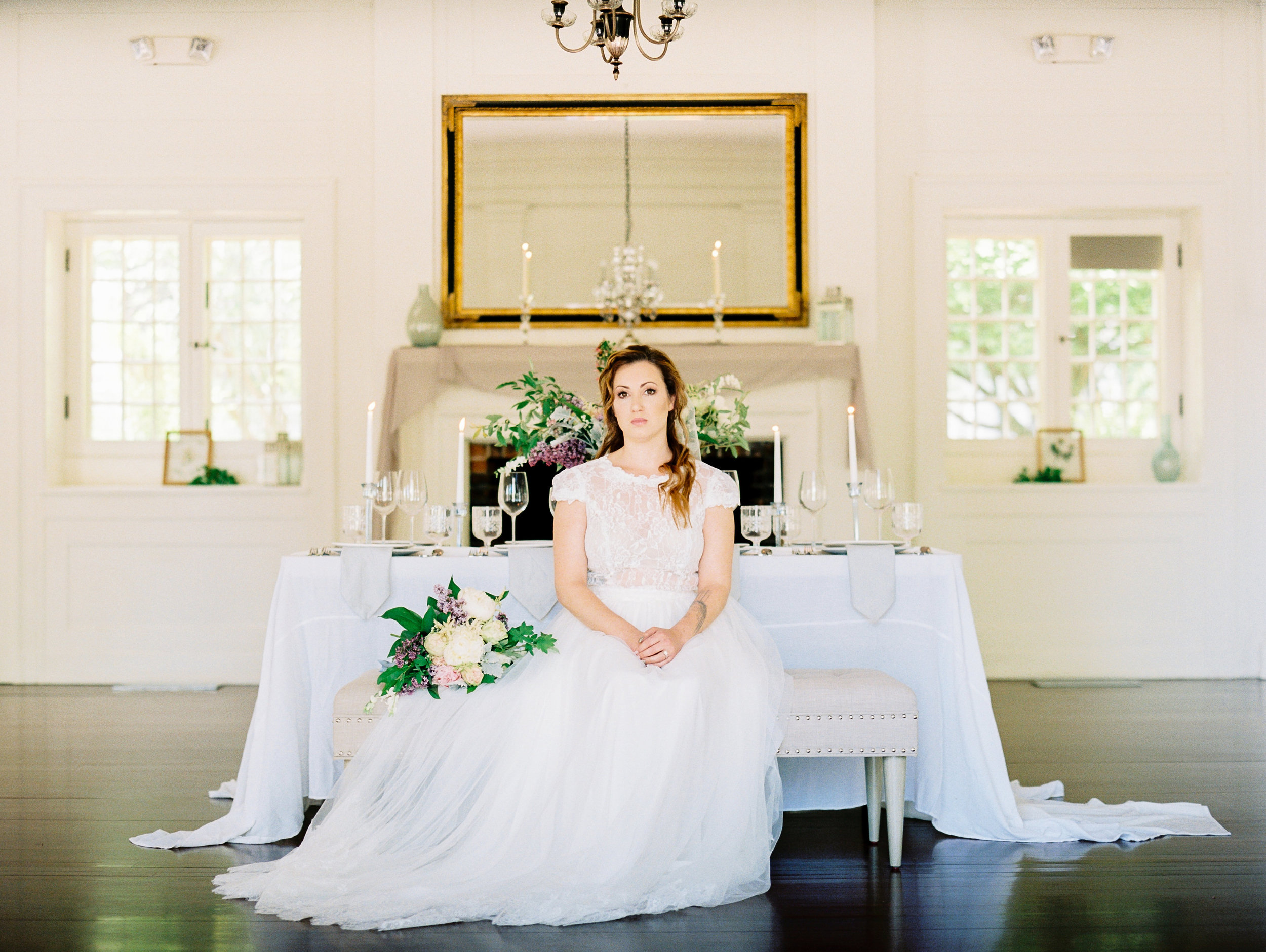 Bride with Bouquet Lavender, Greenery, White