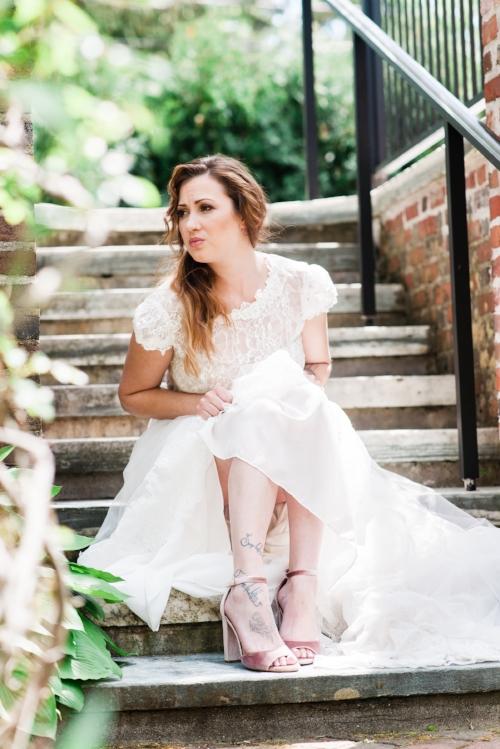 Bride with pink steve madden heels