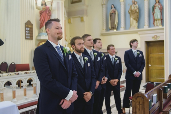 The groom and groomsmen at St. Sebastian's Church- Pearl Weddings and Events