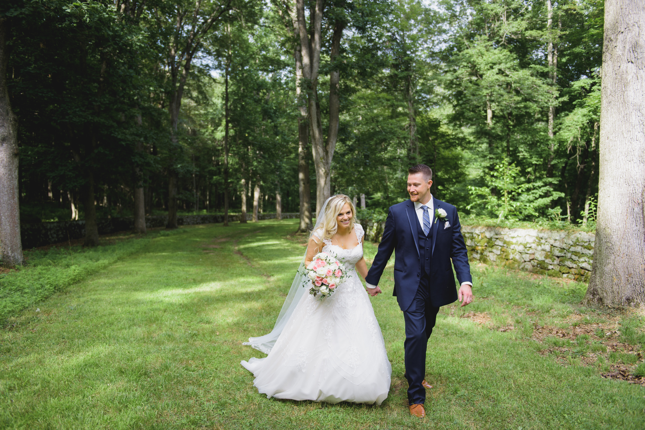 Bride and Groom at Wadsworth Mansion - Pearl Weddings and Events