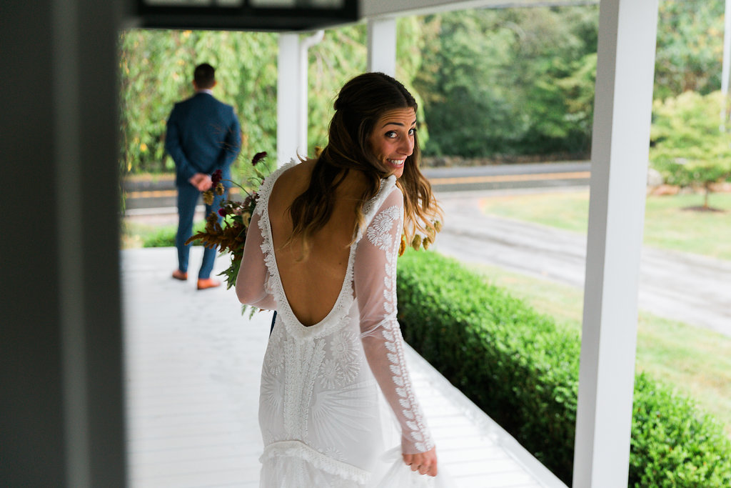 Bride and Grooms first look! Her Rue De Seine Bridal dress is to die for! Planner | Pearl Weddings & Events