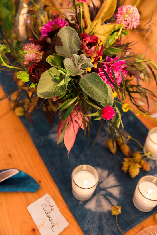 Table setting with florals and denim dyed runner - Pearl Weddings & Events
