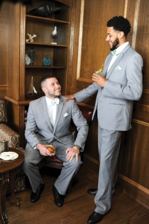 Groom and Best Man in grey two piece suits - Pearl Weddings & Events