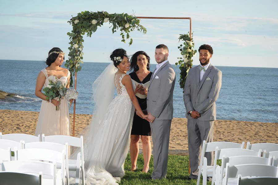 Beach side wedding ceremony at madison beach hotel in Connecticut! - Pearl Weddings & Events