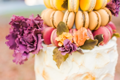 Cake Lore Co. beautiful hand made flowers for the macaron tower cake! - Planner & Design | Pearl Weddings & Events